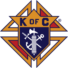 The Knights of Columbus emblem consists of a shield mounted on a formée cross. Mounted on the shield are a fasces, an anchor, and a dagger.