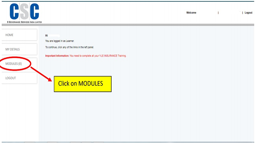 click on modules