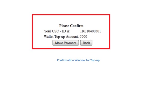 conformation window for top up