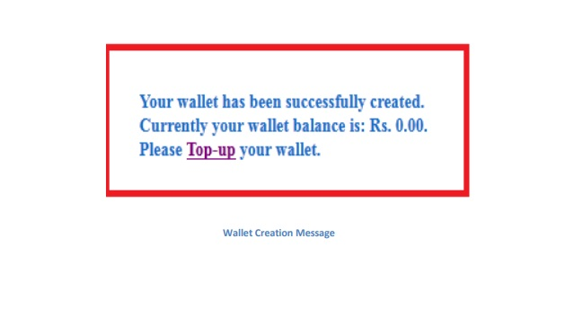 wallet creation message